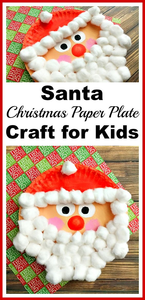 Santa Christmas Paper Plate Craft.