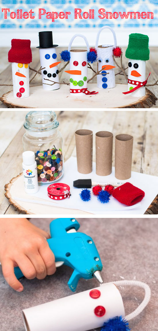 How-to Craft a Toilet Paper Roll Snowman.