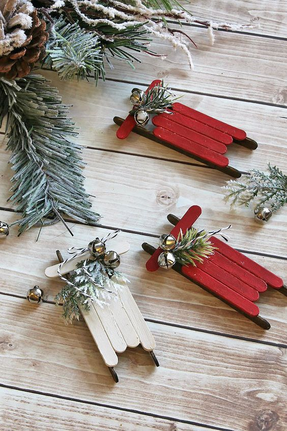 Rustic Popsicle Stick Christmas Ornaments.