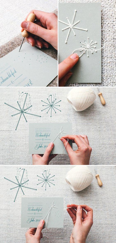 Embroidered Snowflake Christmas Card.
