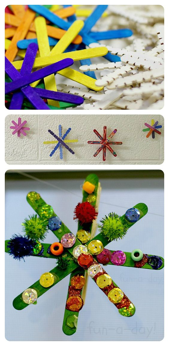 Colorful Popsicle Stick Snowflakes.