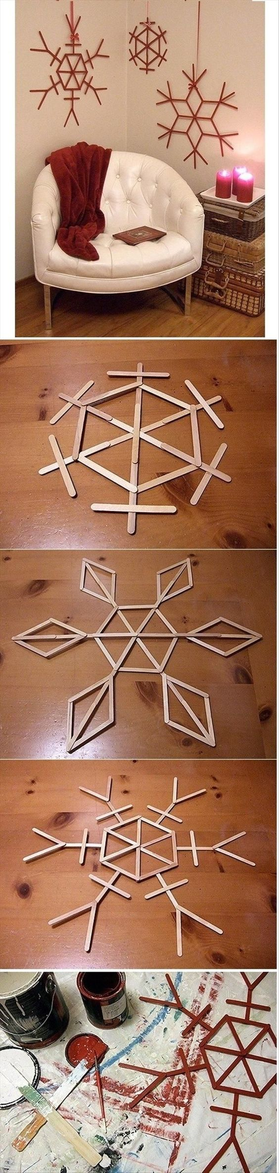 Festive Popsicle Stick Snowflakes.