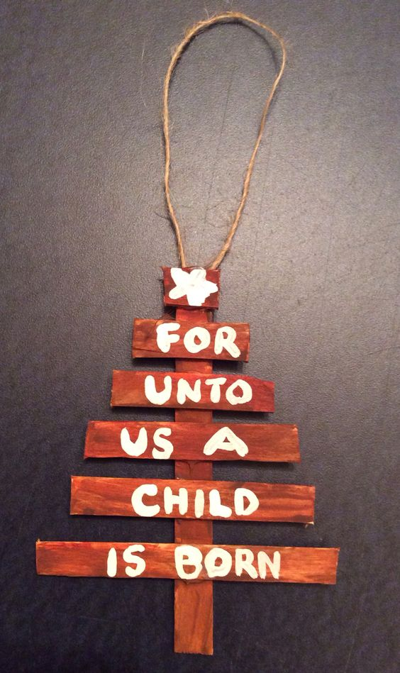 Popsicle stick Christmas Tree Ornament for Church.