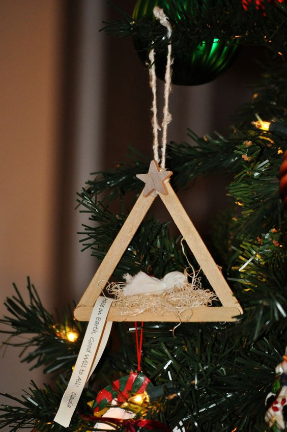 Precious Nativity Popsicle Stick Christmas Ornament.