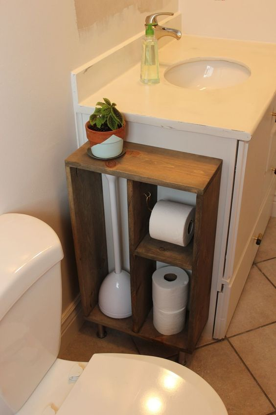 Hide Unsightly Toilet Items with this DIY Side Vanity Storage Unit.