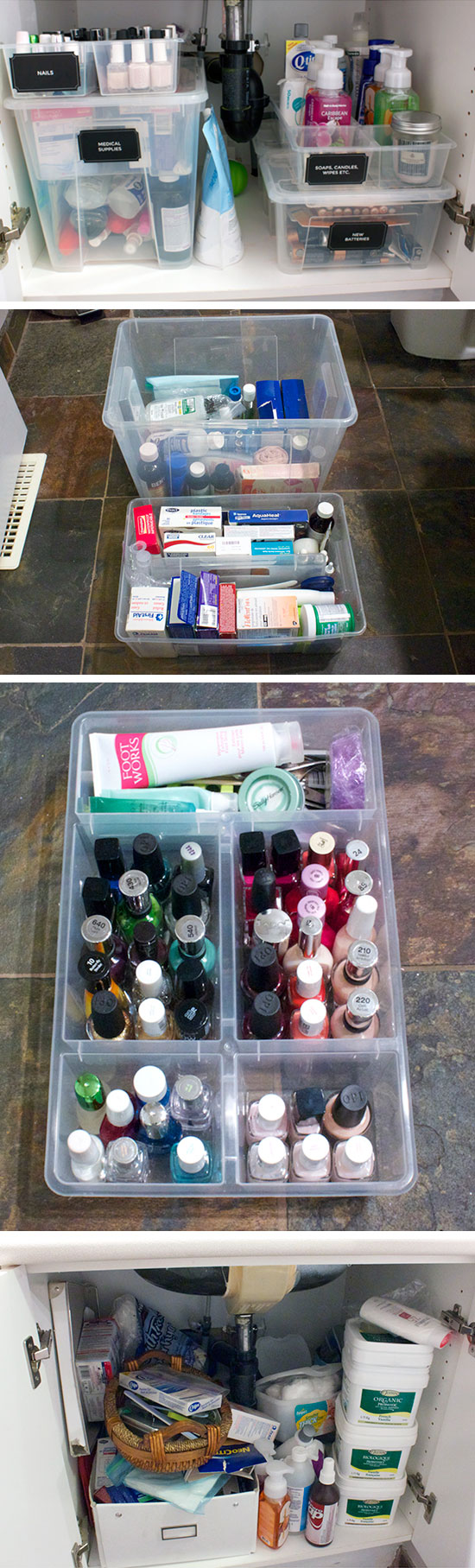 Organize Cabinet with Plastic Containers.