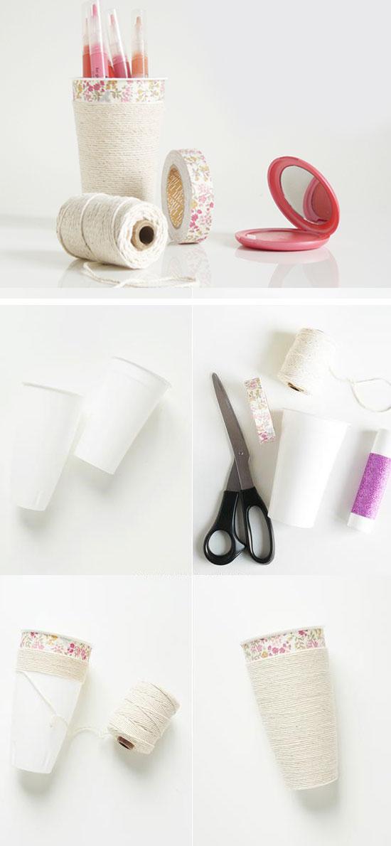 DIY Makeup Cup Organizer.