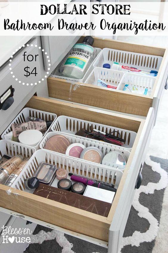 Dollar Store Bathroom Drawer Organization.