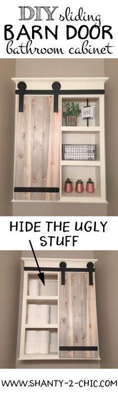 DIY Sliding Barn Door Bathroom Cabinet.