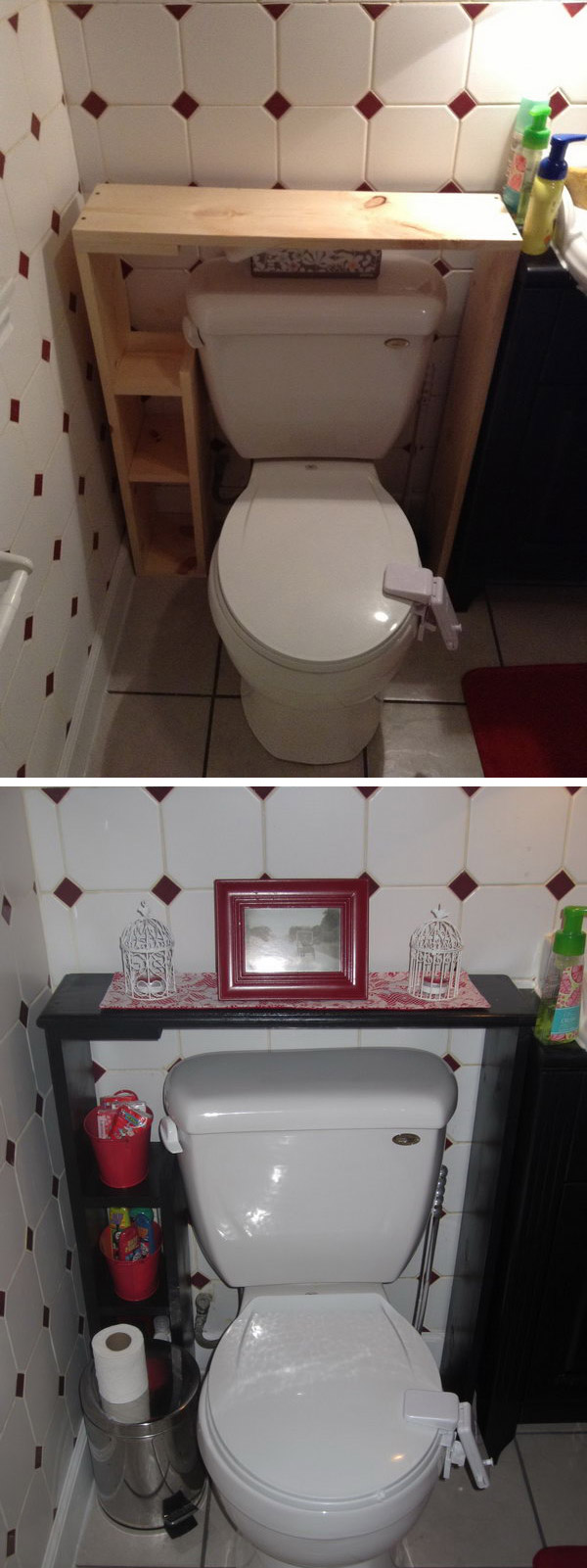 DIY Shelf Over The Toilet For More Storage Space.