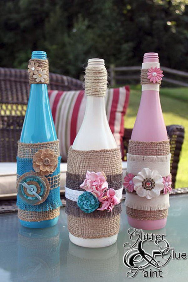 Burlap Wrapped Wine Bottles.