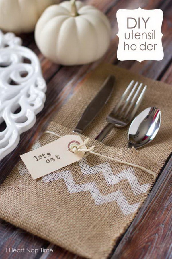 Burlap Utensil Holders.