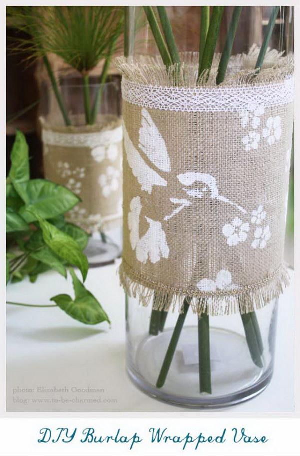 Burlap Wrapped Vase.