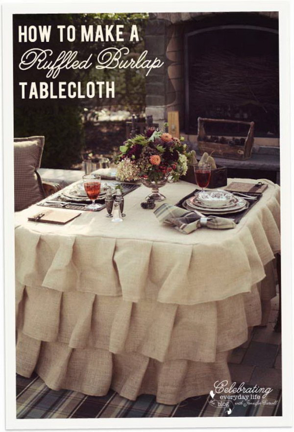 Ruffled Burlap Tablecloth.