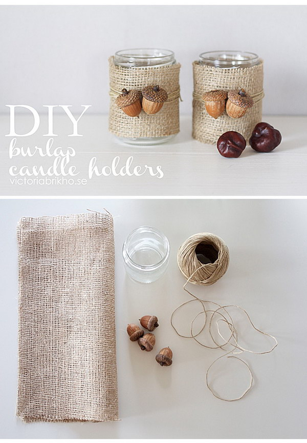 Burlap Candle Holders.