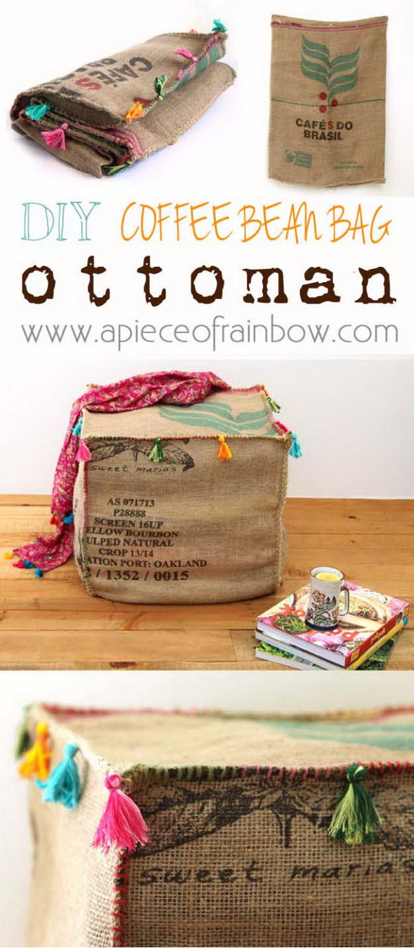 Burlap Coffee Bag Ottoman.