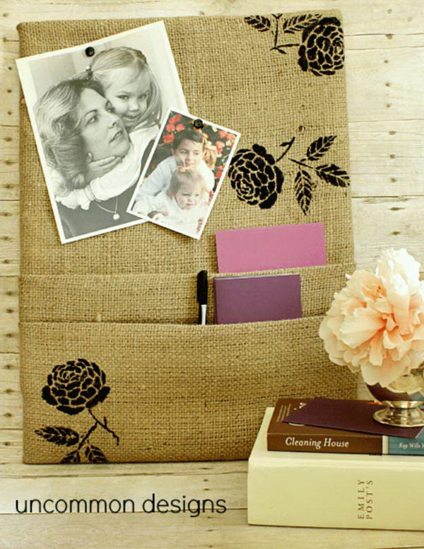 Burlap Corkboard With Pockets.