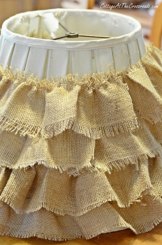 DIY Ruffled Burlap Shade.