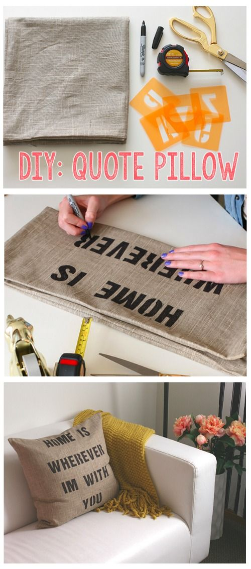 Burlap Quote Pillows.