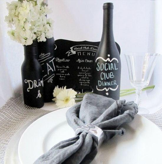 DIY Chalkboard Wine Bottle Centerpieces.