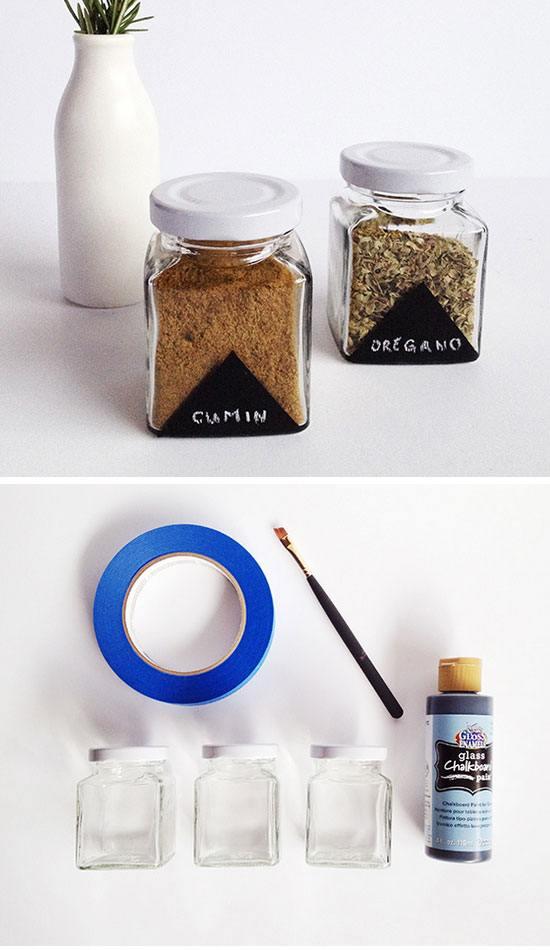 Chalkboard Painted Spice Jars.