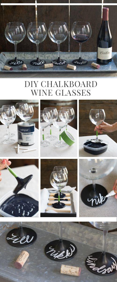 DIY Chalkboard Wine Glasses.