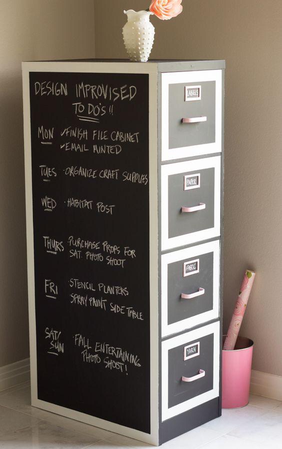 Chalkboard Paint File Cabinet Makeover for Craft Storage.