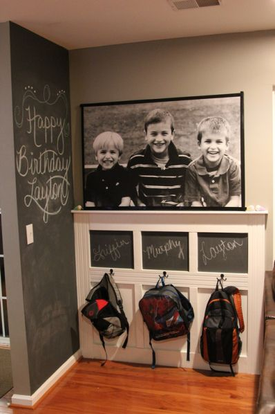 Chalkboard Painted Backpack Wall.