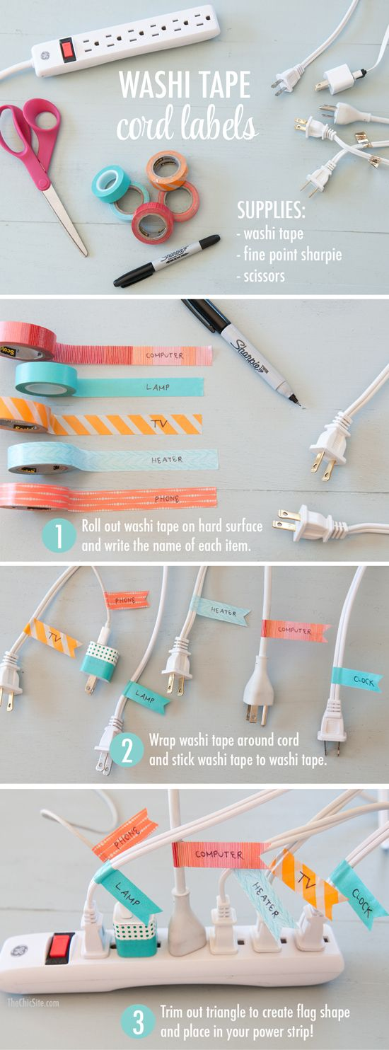 Use Washi Tape Labels to Identify the Mess of Cords.