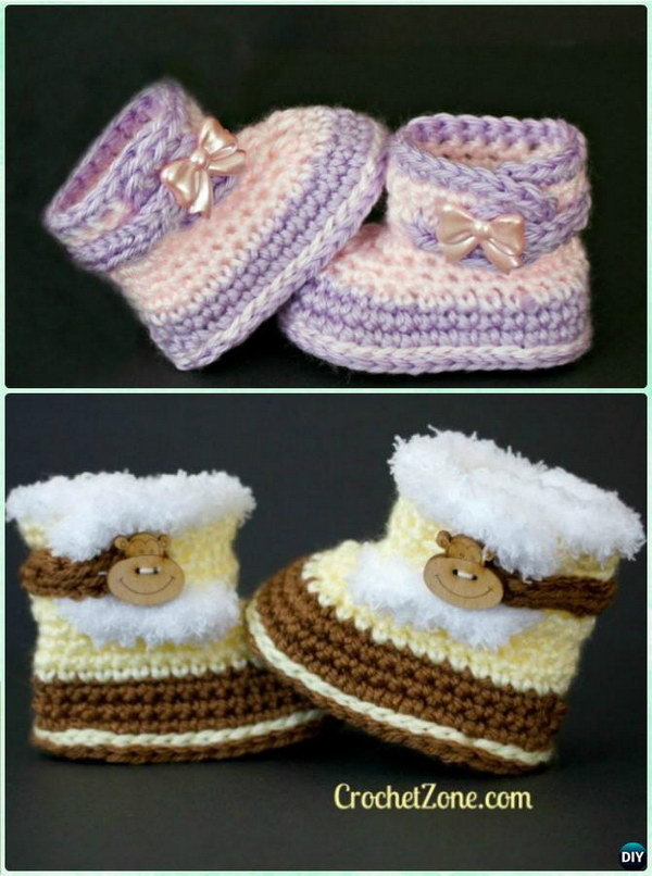 30+ Adorable Crochet Baby Booties With Free Patterns 2017