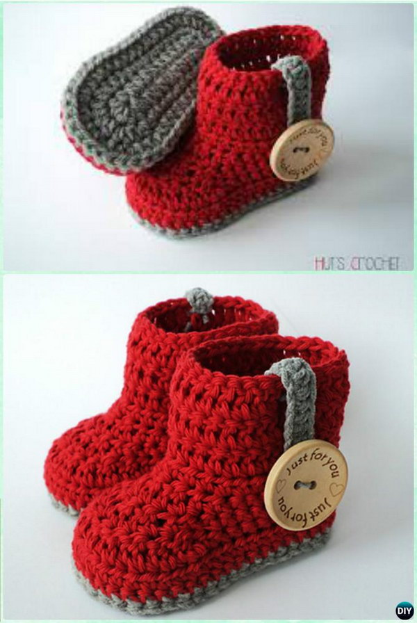 30 Adorable Crochet Baby Booties With Free Patterns 2018