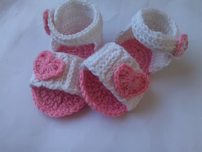Pink and White Baby Crochet Sandal.