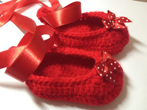 Ruby Red Crochet Baby Slippers.