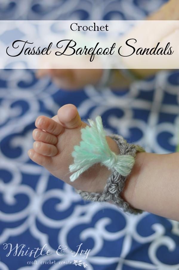 Crochet Tassel Barefoot Sandals.