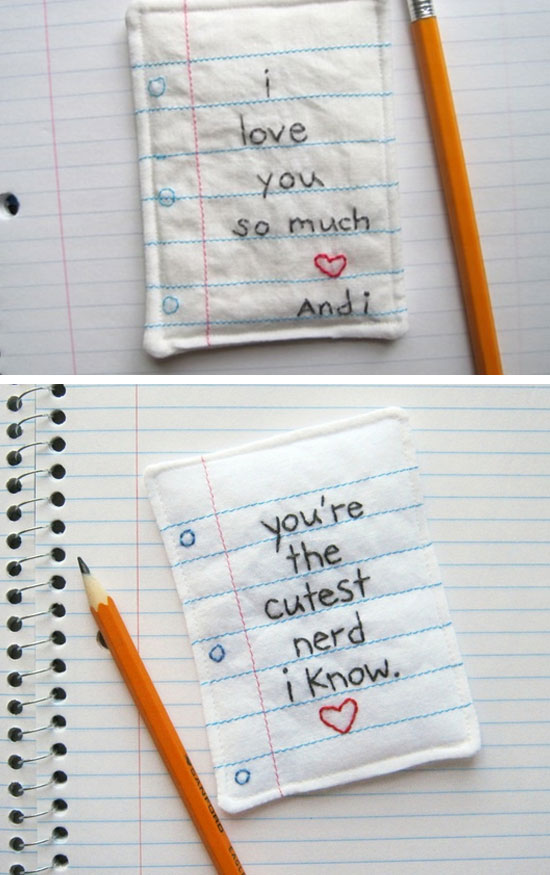 Embroidered Love Note.