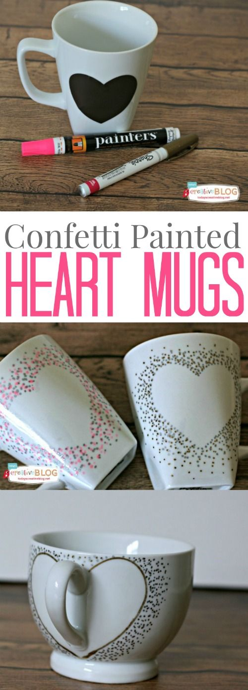 DIY Confetti Painted Heart Mugs.