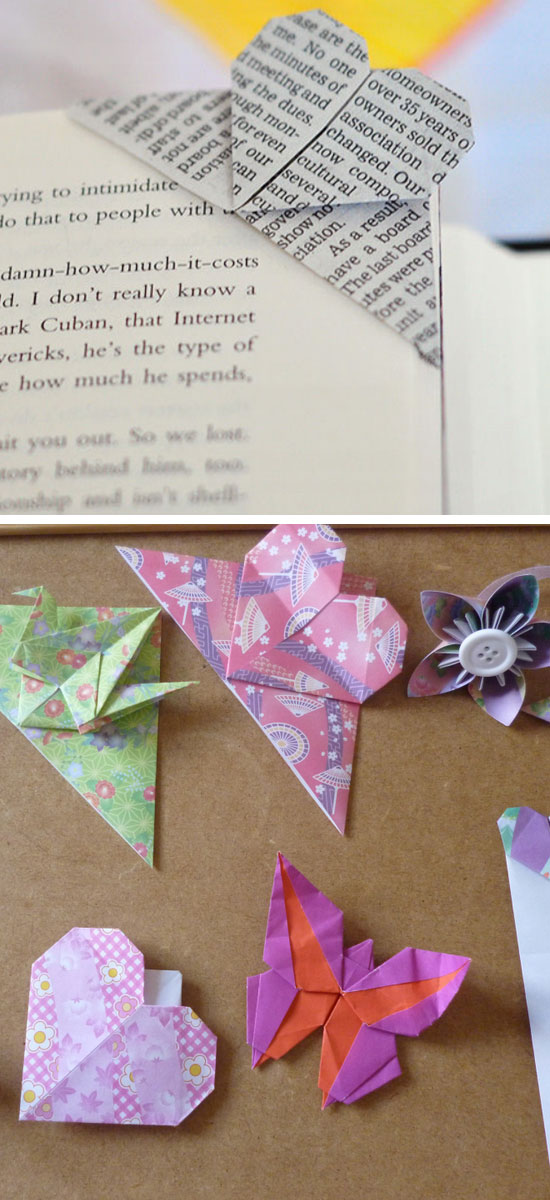 How to Fold a Corner Heart Bookmark Origami.