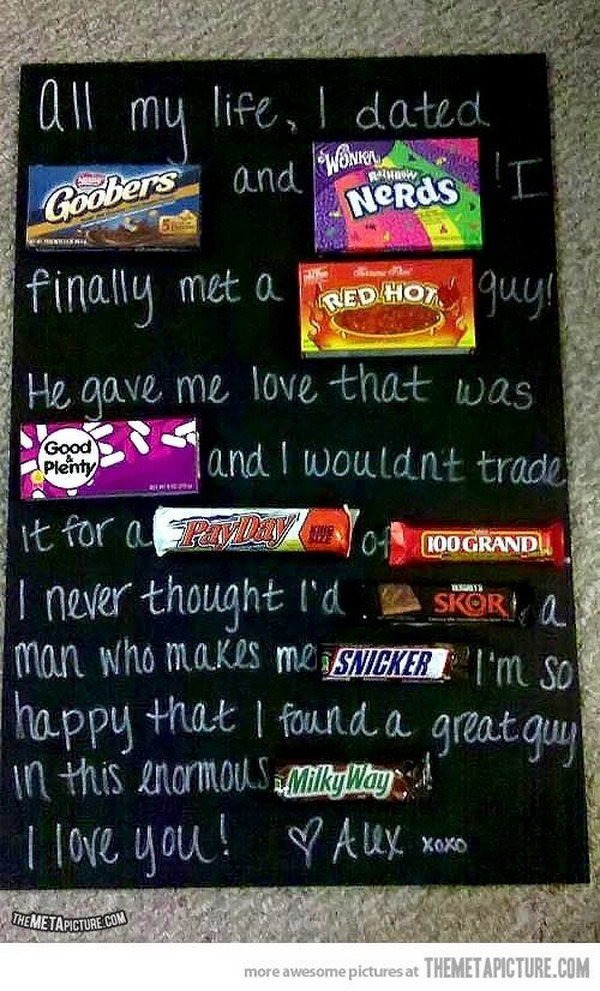 Valentines Candy Bar Poster for Him.