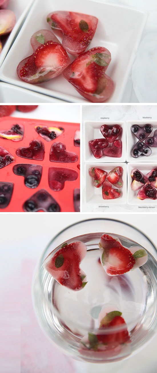 Berry Infused Heart Ice Cubes.