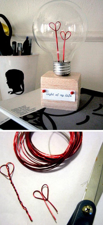 Light of My Life DIY Heart Lightbulb.