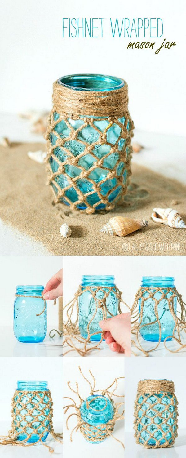 Fishnet Wrapped Mason Jar.