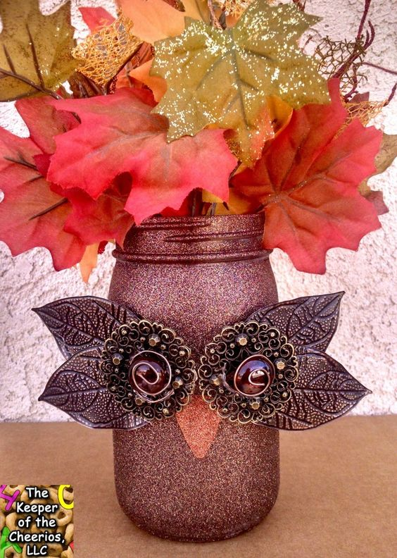 DIY Fall Owl Mason Jars.