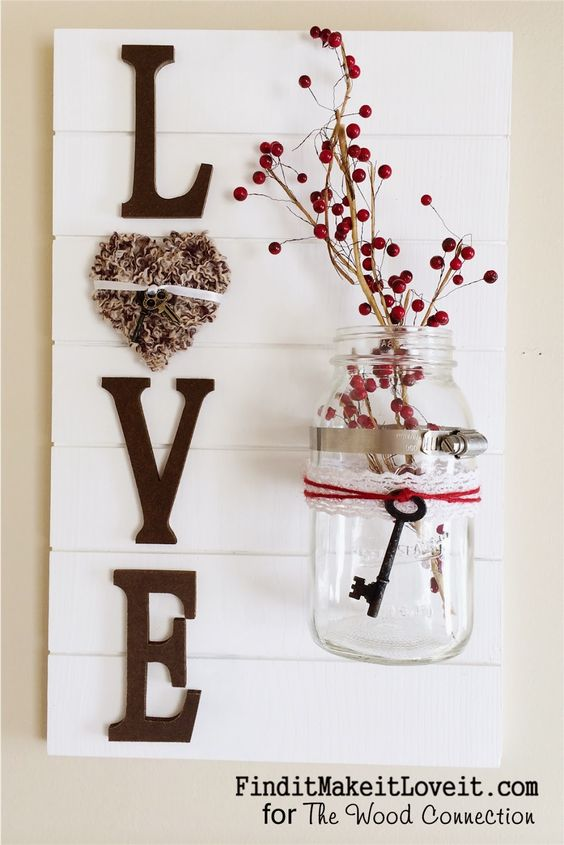 Love Sign Made out of Wood and Mason Jar.
