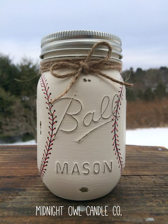 Hand-Painted Baseball Mason Jar Bank.