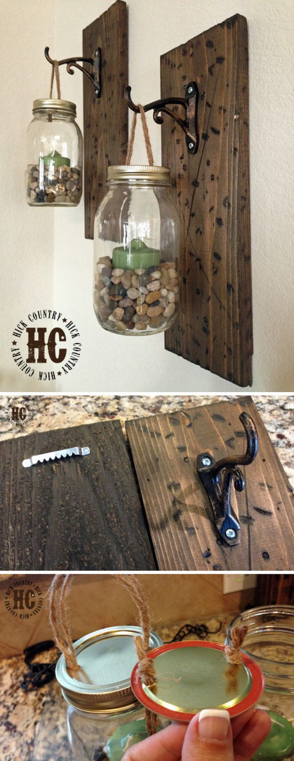 DIY Rustic Mason Jar Walllanterns.