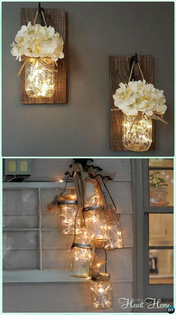Hanging Mason Jar String Lights.