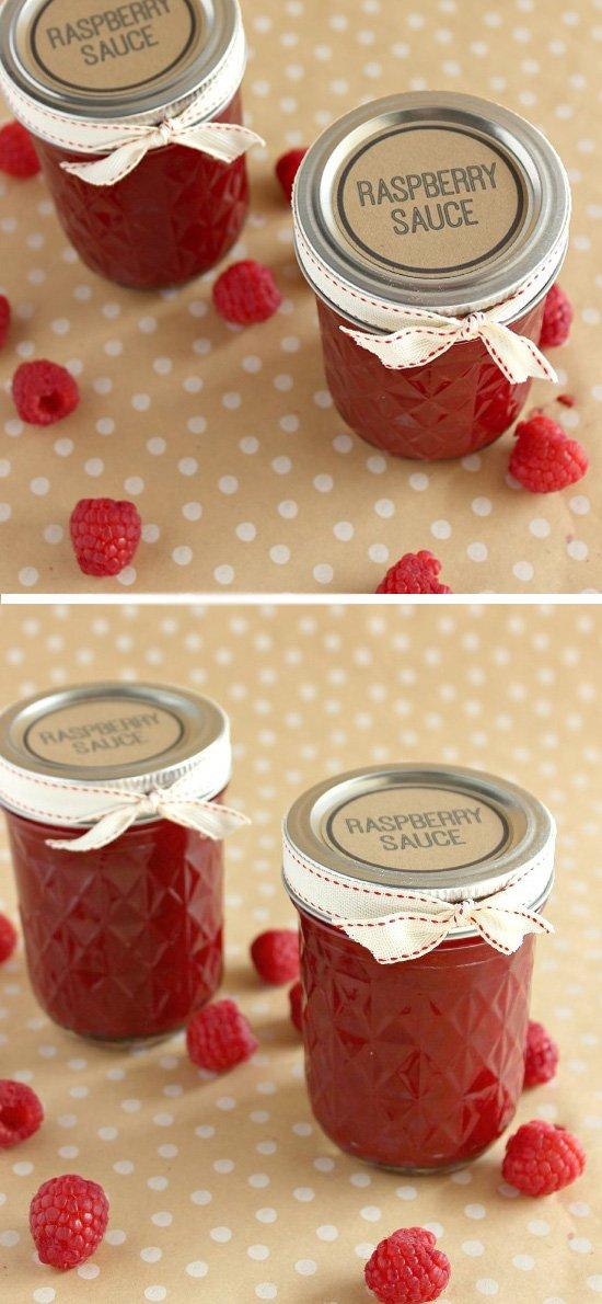 Raspberry Sauce Jars.