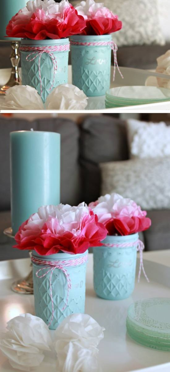 Vintage Style Jars with Flowers.