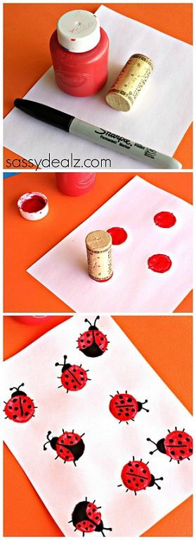 Wine Cork Ladybugs Craft.