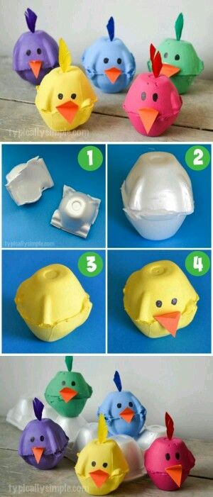 Spring Chicks Egg Carton Craft.
